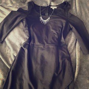 JustFab Cold Shoulder Splice Dress LBD, NWOT